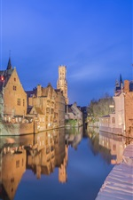 Belgium, Bruges, city night, river, houses