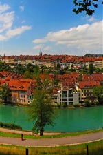 Bern, Switzerland, city, river, houses, road, bridge, trees
