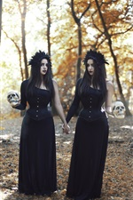 Preview iPhone wallpaper Black dress girls in forest, skull, crow