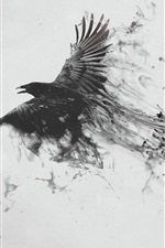 Preview iPhone wallpaper Black raven flying, bird, wings, smoke, creative picture