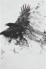 Pretas, corvo, voando, pássaro, asas, fumaça, criativo, quadro