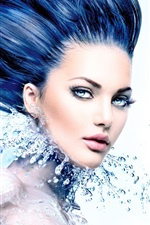 Blue eyes girl, long hair style, water, splash