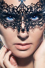 Preview iPhone wallpaper Blue eyes girl, mask, makeup, hands