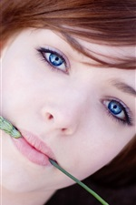 Preview iPhone wallpaper Blue eyes girl, wheat, look