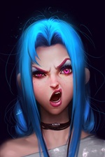 Preview iPhone wallpaper Blue hair girl, League of Legends, black background