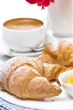 Preview iPhone wallpaper Breakfast, croissants, bread, juice, one cup coffee