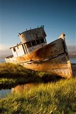 Preview iPhone wallpaper Broken ship, river, grass, sunset