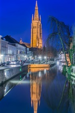 Preview iPhone wallpaper Bruges, Belgium, church, night, lights, river, houses