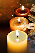 Preview iPhone wallpaper Candles flame, snowflakes, New Year, Christmas