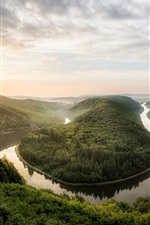 Canyon, sunrise, fog, trees, river, morning, Saar loop, Germany