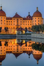 Preview iPhone wallpaper Castle, lake, water reflection, dusk, Moritzburg, Germany