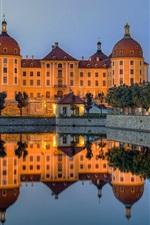 Preview iPhone wallpaper Castle, lake, water reflection, dusk, Moritzburg, Germany