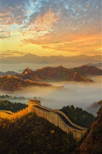 Preview iPhone wallpaper China, Great Wall, mountains, fog, history, architecture, dawn