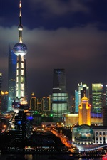 China Shanghai, The Oriental Pearl Tower, skyscrapers, river, night, lights