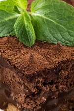 Preview iPhone wallpaper Chocolate cake, mint