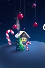 Preview iPhone wallpaper Christmas, New Year, night, moon, house, art picture