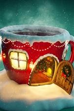 iPhone fondos de pantalla Navidad, casa de la taza, nieve, luces, cuadro creativo