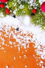 Christmas decoration, New Year, twigs, balls, snow