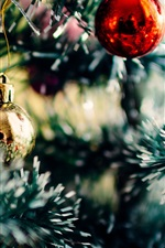 Preview iPhone wallpaper Christmas decoration, balls, tree, blurry