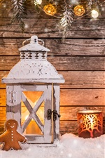 Preview iPhone wallpaper Christmas decoration, lantern, candles, lights, tree, snow, wooden board