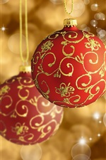 Preview iPhone wallpaper Christmas decoration, red balls, glare background