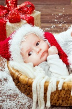 Christmas, gift, cute baby in basket