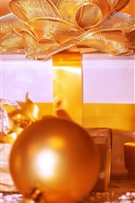 Preview iPhone wallpaper Christmas, gifts, box, balls, golden style