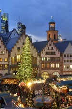Preview iPhone wallpaper Christmas, houses, night, lights, people, market, Europe