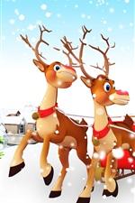iPhone обои Рождественская елка, подарки, игрушки, снег, Санта-Клаус, сани, олени