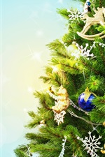 Preview iPhone wallpaper Christmas tree, holiday, decoration, toys, balls, snowflakes