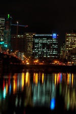 Preview iPhone wallpaper City at night, houses, lights, river, bridge, illumination, Portland, USA