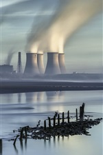 City, thermal power plant, pipe buildings, smoke, river