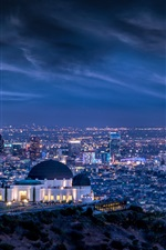Preview iPhone wallpaper Cityscape, night, storm, lights, Griffith Observatory, Los Angeles, USA