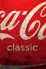 Preview iPhone wallpaper Coca-Cola logo, red background