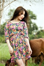 Preview iPhone wallpaper Colorful dress Asian girl and cows