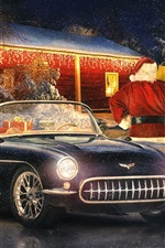 Corvette classic car, winter, snow, lights, New Year, Christmas