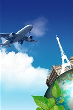 Preview iPhone wallpaper Creative pictures, journey to the world, plane, earth