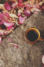 Preview iPhone wallpaper Cup, coffee, leaves