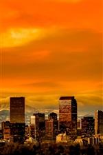 Preview iPhone wallpaper Denver, Colorado, USA, skyline, skyscrapers, dusk