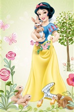 Preview iPhone wallpaper Disney cartoon stars, Snow White, tree, flowers, rabbit