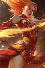 Preview iPhone wallpaper Dota 2, girl magic, fire