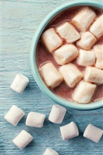 Preview iPhone wallpaper Drinks, hot cocoa, cup, marshmallows