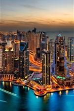 Dubai, Stadtnachtansicht, Lichter, Wolkenkratzer, Arabische Emirate