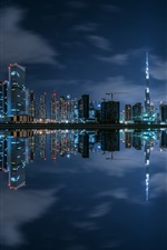 Preview iPhone wallpaper Dubai, night, skyscrapers, river, lights, water reflection
