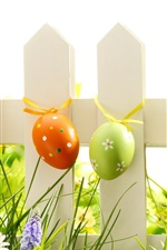 Preview iPhone wallpaper Easter, eggs, grass, flowers, fence, spring