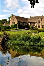 Preview iPhone wallpaper England, bushes, mansion, house, trees, grass, river