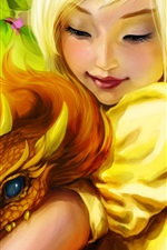 Preview iPhone wallpaper Fantasy blonde girl, dragon, smile