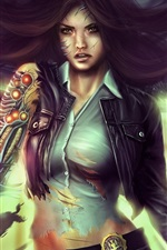 Preview iPhone wallpaper Fantasy girl, cyborg, detective, hair