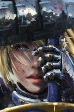 Preview iPhone wallpaper Fantasy girl in rain, sword, warrior