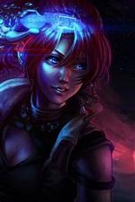 Preview iPhone wallpaper Fantasy girl, magic, planet